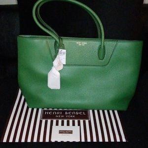 Henri Bendel green leather tote bag